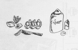 Flour and eggs drawing